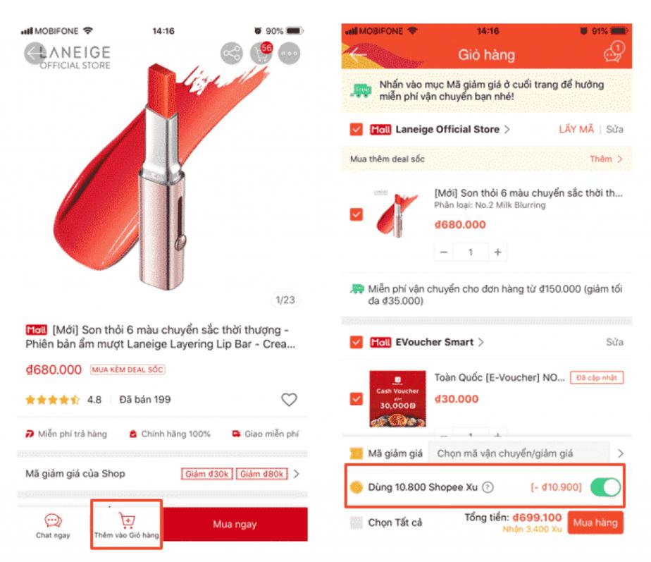 Cách dùng Shopee Xu để giảm giá đơn hàng