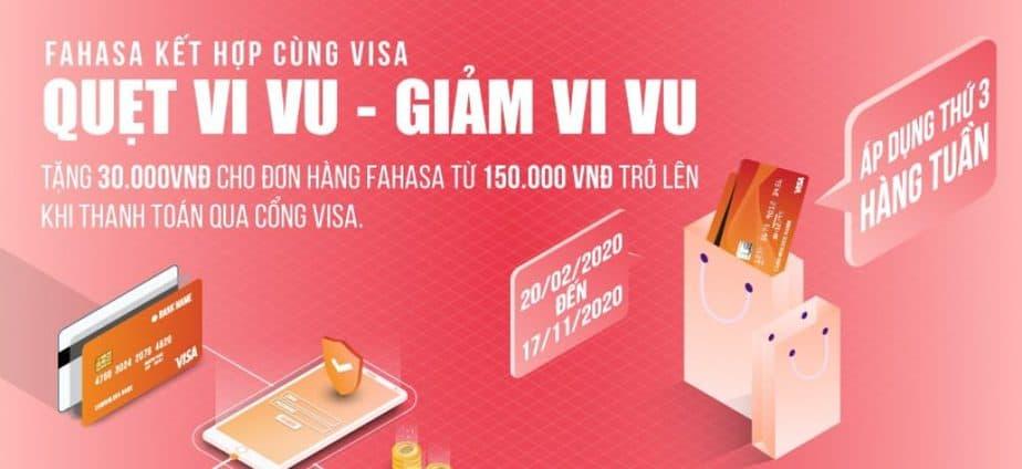 Fahasa kết hợp cùng Visa tặng 30k quẹt vi vu giảm vivu