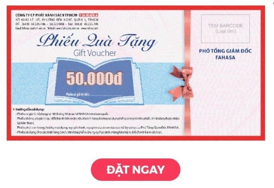 Đặt ngay voucher Fahasa 50k dành tặng người thân