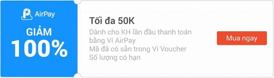 Mã giảm giá Shopee Airpay 100% tối đa 50k cho lần đầu thanh toán