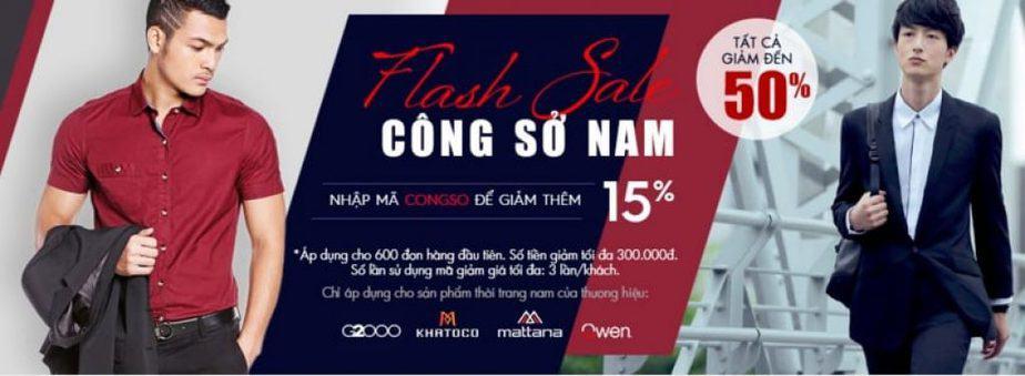 Flash sale thời trang nam công sở giảm thêm 15% đến 50%