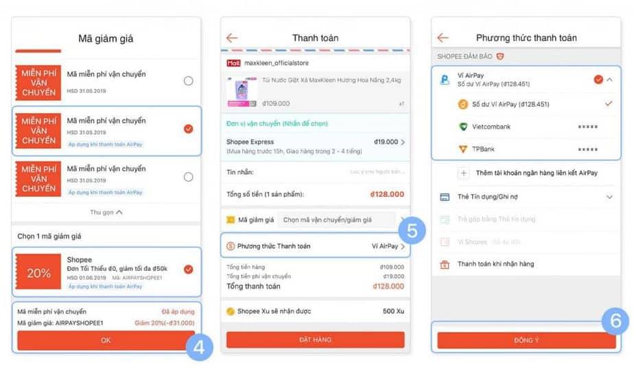 Các bước thanh toán qua ví Airpay