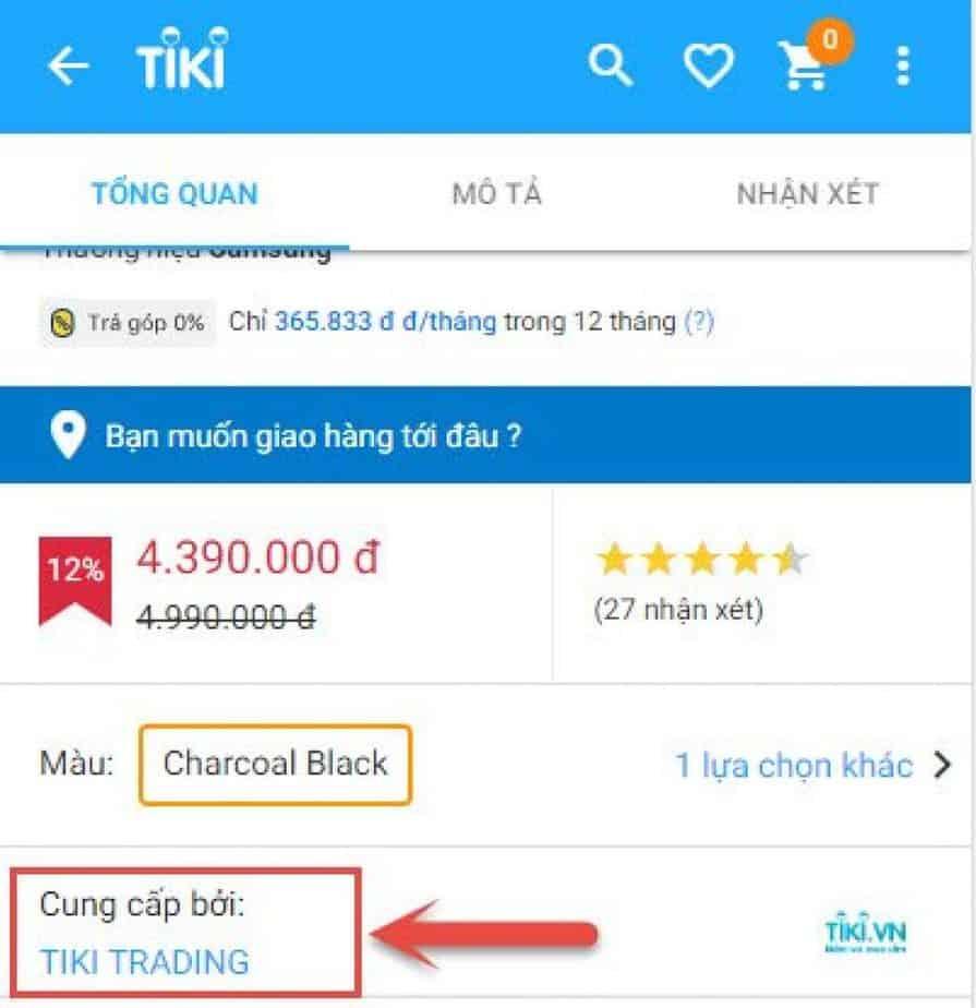 Nhận biết nhà cung cấp trên ứng dụng