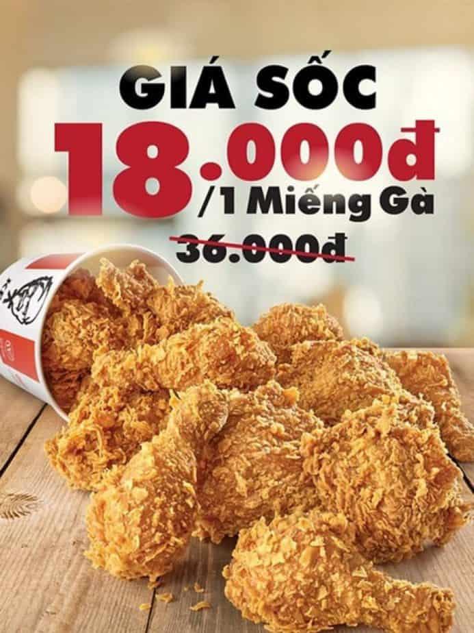 KFC giảm giá sốc khuyến mãi chỉ từ 18k một miếng gà