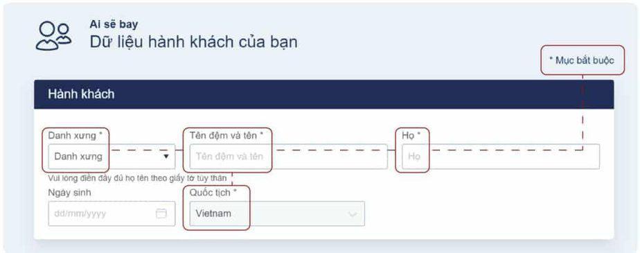 dữ liệu hành khách của bạn