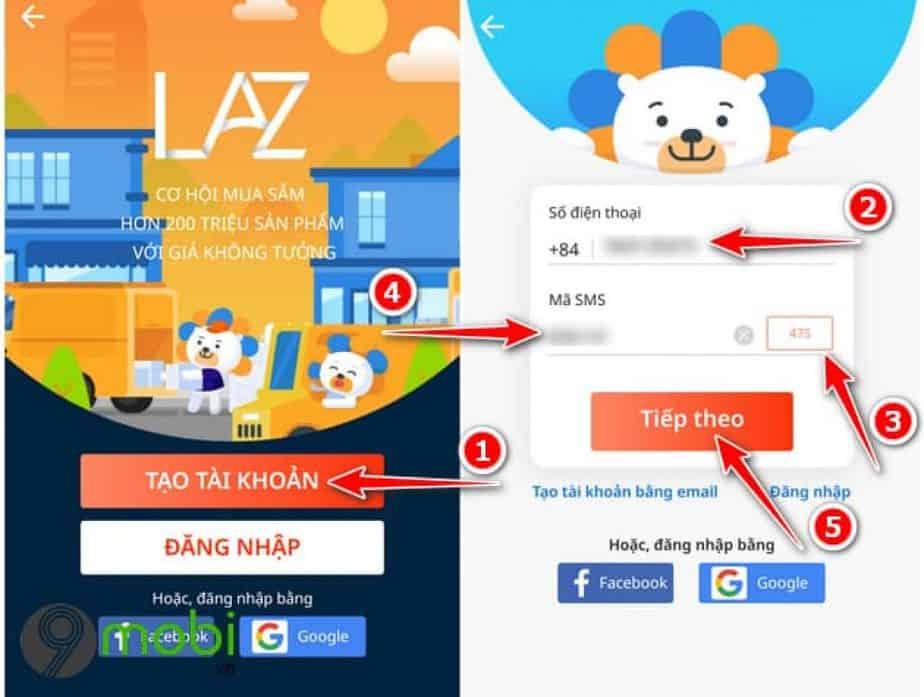 đăng nhập tài khoản Lazada trên App