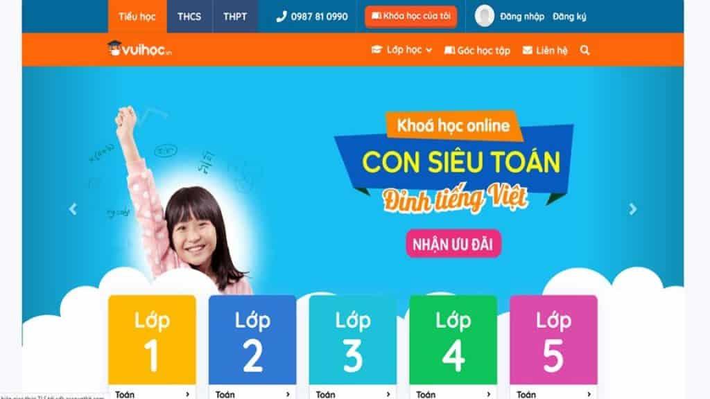 Vuihoc.vn trang Web học trực tuyến miễn phí