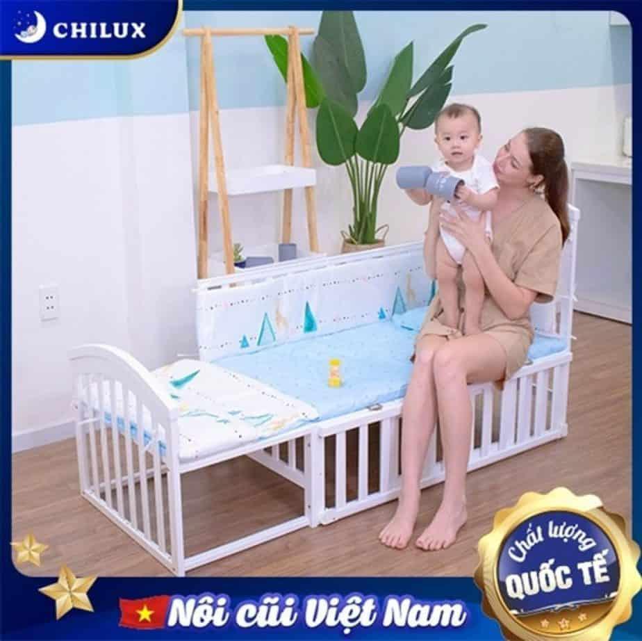 Dòng nôi cũi Chilux Peace White có thể chuyển thành giường lớn